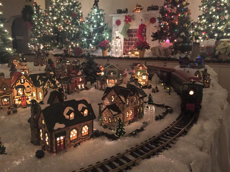 The charming Christmas Village and train set up in the 1847 Town Hall at Boothbay Railway Village - see it on the New Year train Dec. 30!