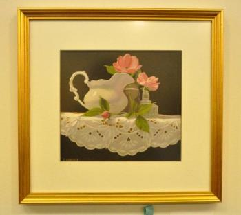 "Bremen's Claire Hancock won best in show for her painting titled ""Pink 'Knock-Out' Roses."" BEN BULKELEY/Boothbay Register"