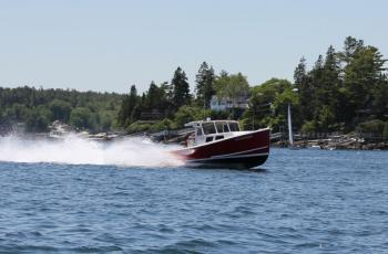 Thunderbolt, the fastest lobster boat in the Boothbay Harbor Lobster Boat Races. SUE MELLO/Boothbay Register