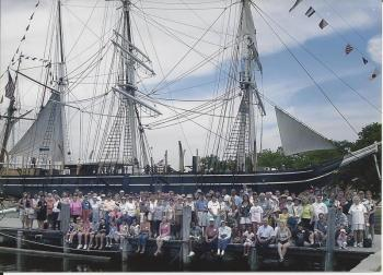 The Sept. 7, 2006 reunion of the descendants of the first captain and crew of the 'Charles W. Morgan.' East Boothbay resident Sally Bullard, a direct descendant of Morgan, is in front to the right of center behind a woman in a white blouse. Courtesy of Sally Bullard