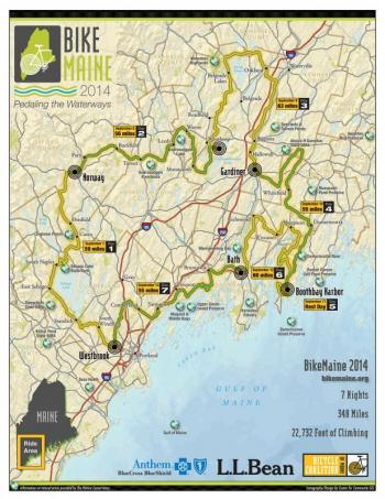 Map of BikeMaine 2014