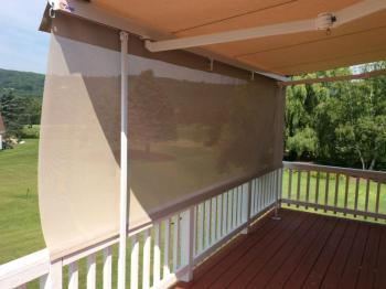 Awning with dropdown shade