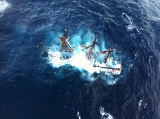 An aerial view of the sinking HMS Bounty. Courtesy Petty Officer 2nd Class Tim Kuklewski, U.S. Coast Guard