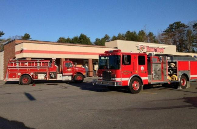 Fire trucks park in front of Hannaford after responding to Friday morning's fire. JOE GELARDEN/Boothbay Register