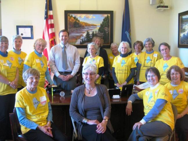 House Speaker Mark Eves meets in his office with the Grandmothers for Reproductive Rights group on April 30. Courtesy of Wendy Eichler