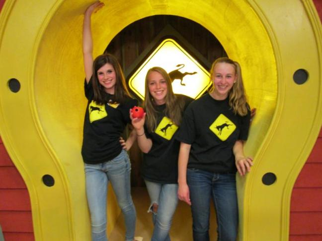 "Angelique Perkins, left, will compete in the finals on the WPXT game show, ""Kick Start Maine."" with the first showing of the episode airing Thursday, June 27 at 7:30 p.m. Classmates Anna Sirois (center) and Emma Rideout (right) participated in the semifinal round. Courtesy of Lauri Perkins"