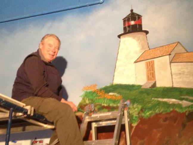 on the new 16-foot high, 40-foot long mural at Maine State Aquarium ...