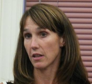 Lincoln County Healthcare Vice President for Physician Services Stacy Miller responds to questions about the St. Andrews emergency room closure. JOHN EDWARDS/Boothbay Register