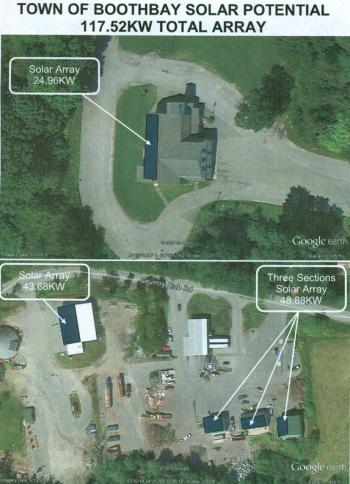 Satellite photos show future locations for Boothbay's solar panels.