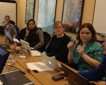 Boothbay Region High School science and environmental science teacher Lauren Graham, second from right, prepares with other teachers from around the country for the water quality pilot project with Tasmania, Australia this month. Courtesy of Simon Costanzo, UMCES