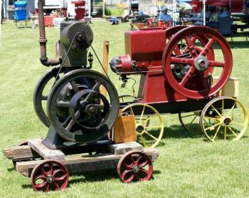 The Antique Tractor and Engine Show features exhibits of working early engines such as this, Model T Ford Rides and more. Courtesy of Boothbay Railway Village