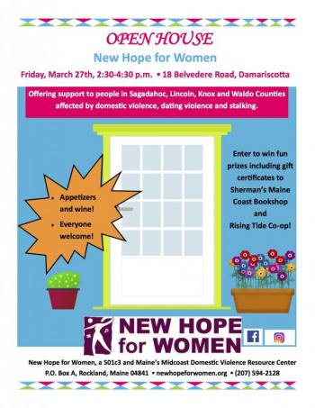 Open House New Hope for Women Damariscotta wine appetizers gift