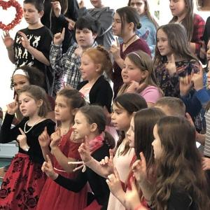 St. Andrews Village, Wiscasset Elementary School, Valentine's Day, singing