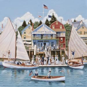 """Boothbay Harbor Yacht Club 1910"" 18"" x 18"" by Ed Parker."